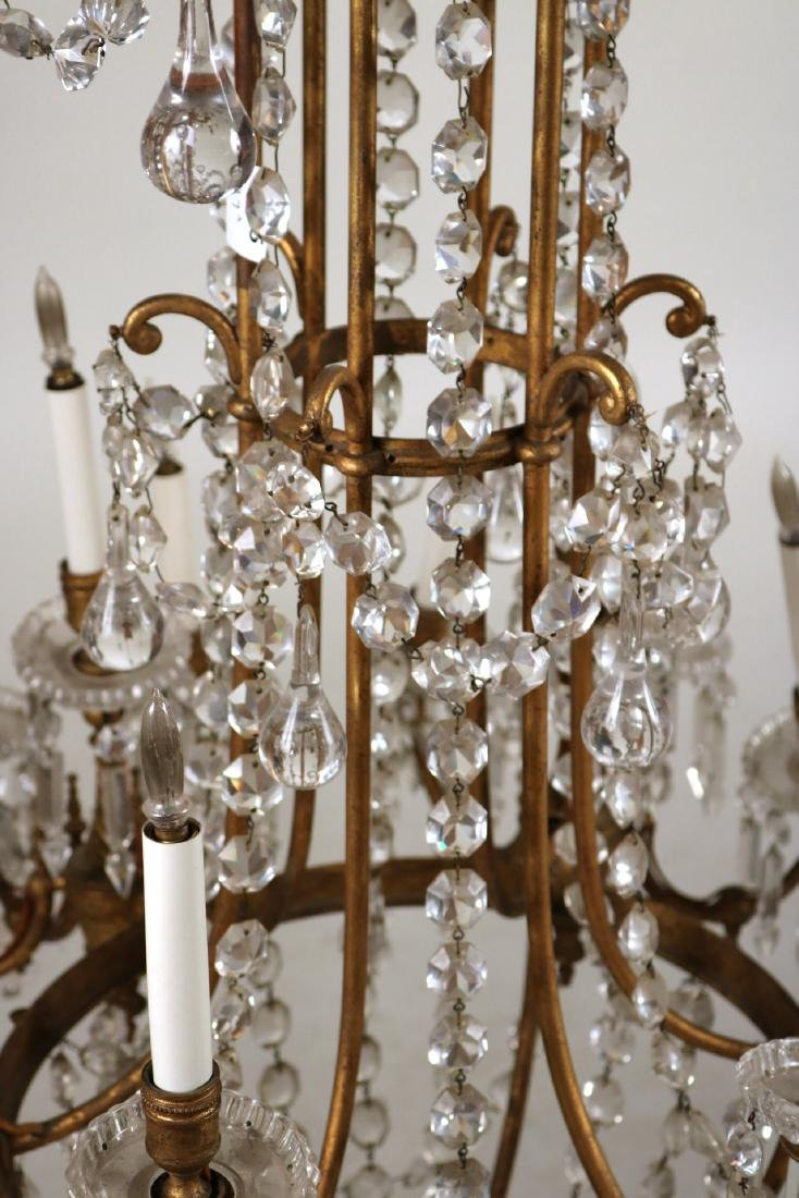 Louis XVI Style Gold-Painted & Crystal Chandelier - 3