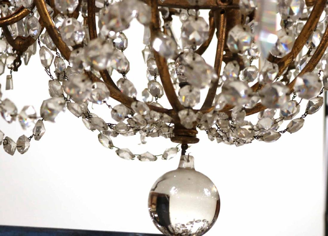 Louis XVI Style Gold-Painted & Crystal Chandelier - 6