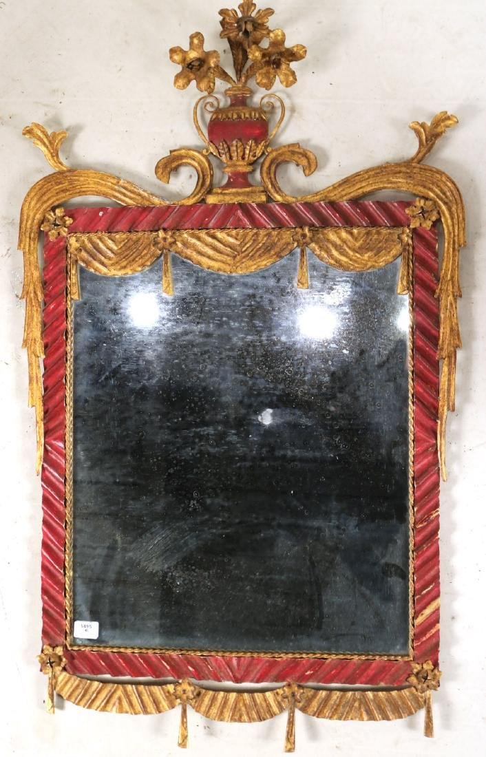 Neoclassical Style Painted Tole Pier Mirror