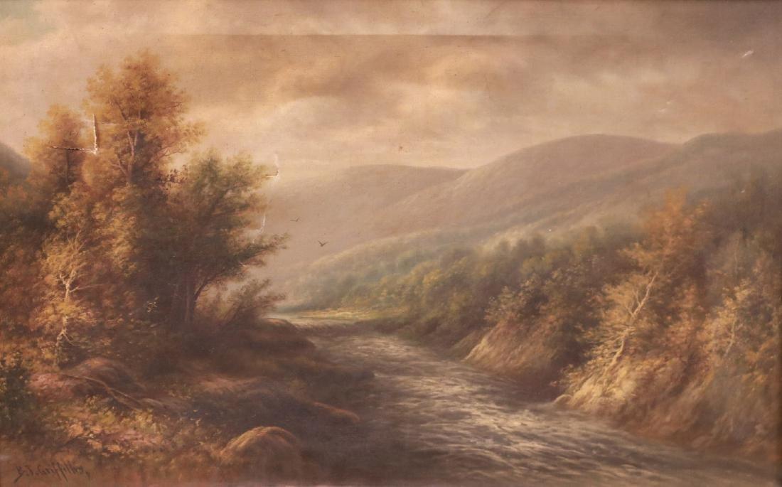 Oil on Canvas, Riverscape, B.T. Griffiths - 2