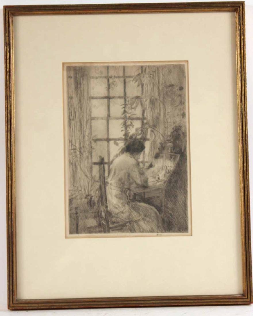 "Etching, ""The Writing Desk,"" Childe Hassam"