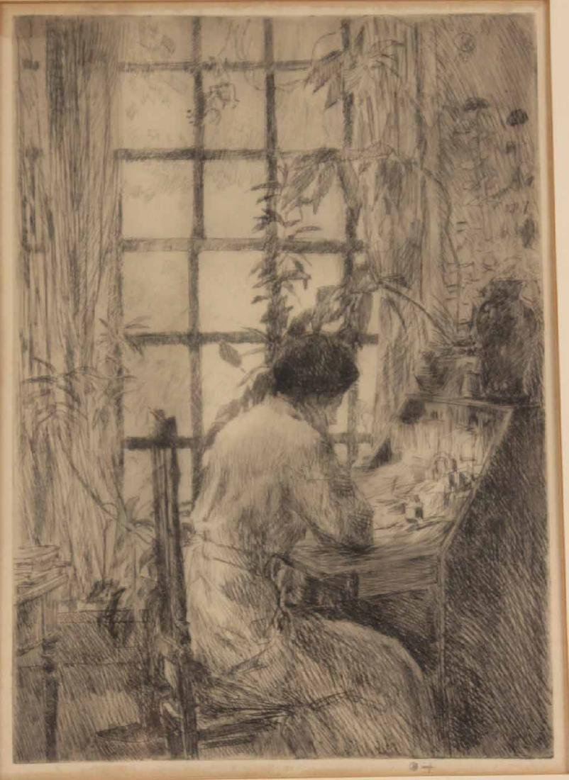 "Etching, ""The Writing Desk,"" Childe Hassam - 2"