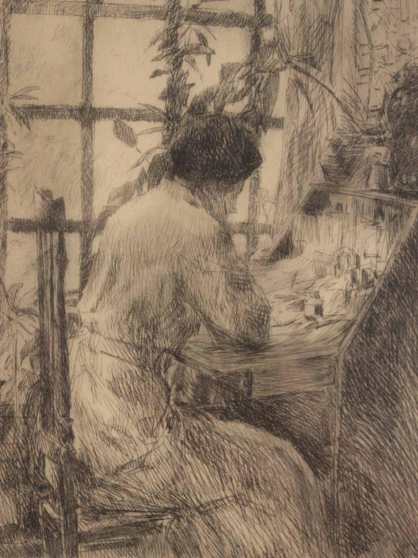 "Etching, ""The Writing Desk,"" Childe Hassam - 3"