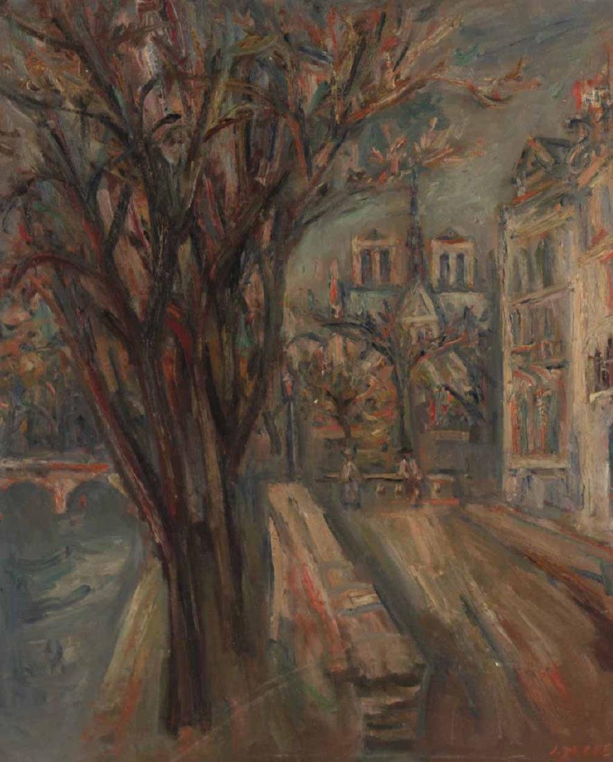Oil on Canvas, Parisian Canal, Jacques Zucker - 4