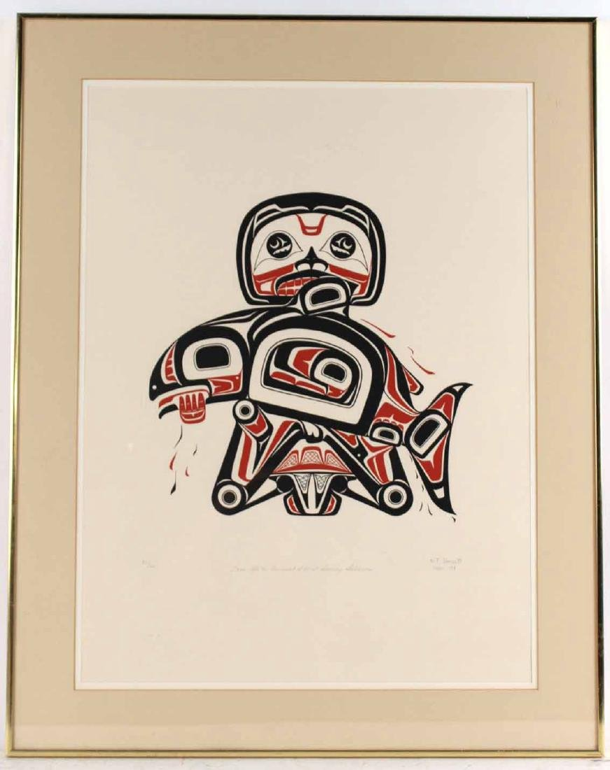 Lithograph, Inuit Image of Man with Salmon