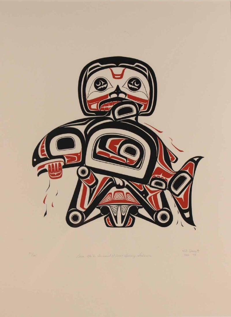 Lithograph, Inuit Image of Man with Salmon - 2