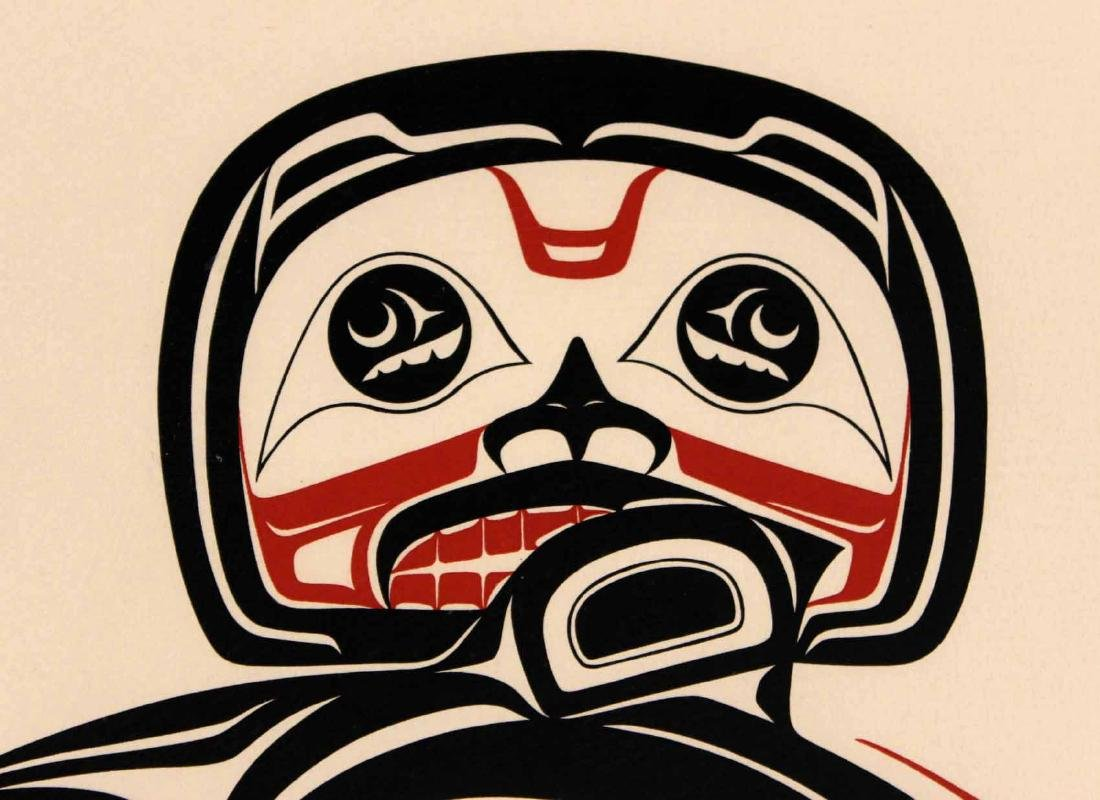 Lithograph, Inuit Image of Man with Salmon - 7