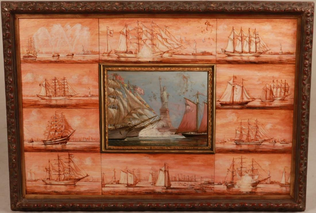 Oil on Board, Ships Entering New York Harbor