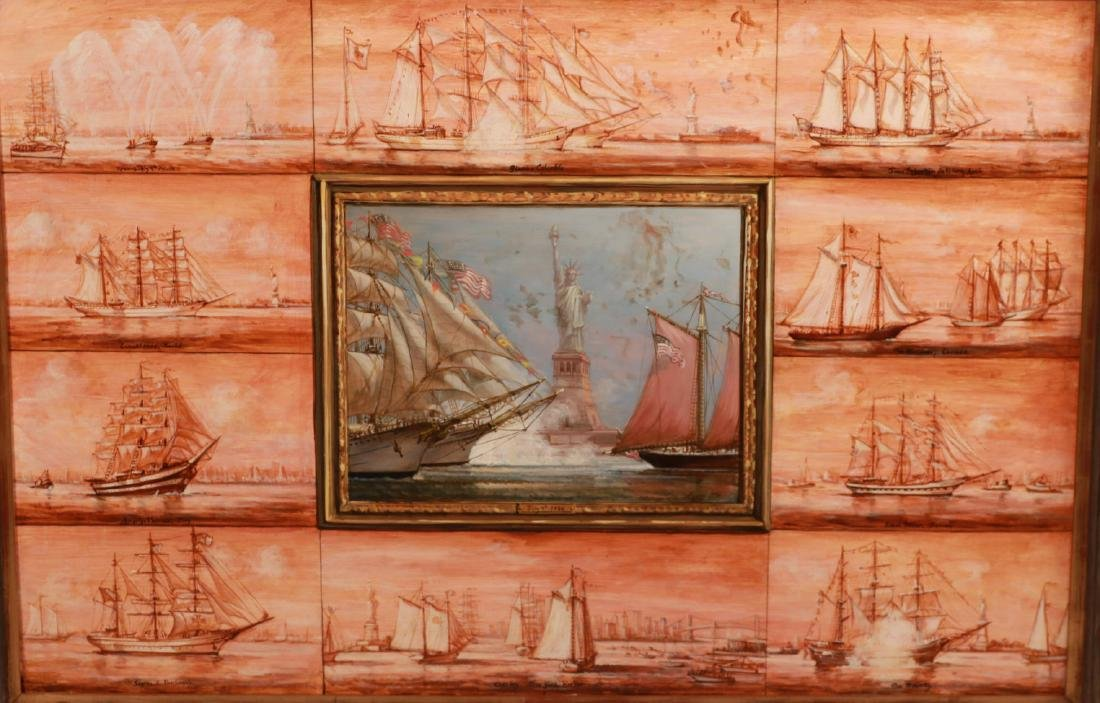 Oil on Board, Ships Entering New York Harbor - 2