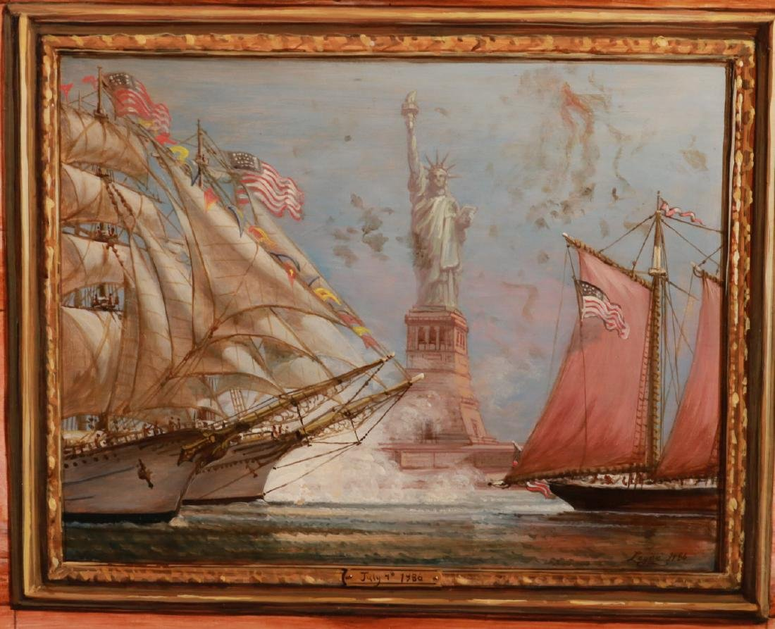 Oil on Board, Ships Entering New York Harbor - 3