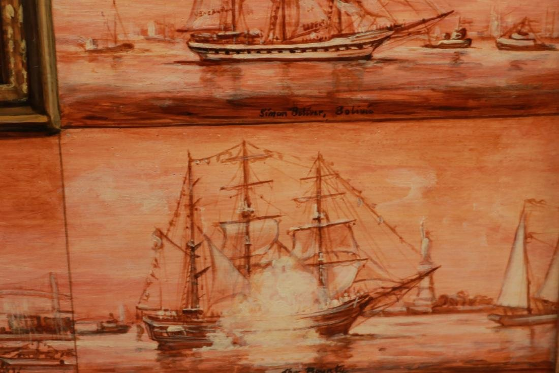 Oil on Board, Ships Entering New York Harbor - 4