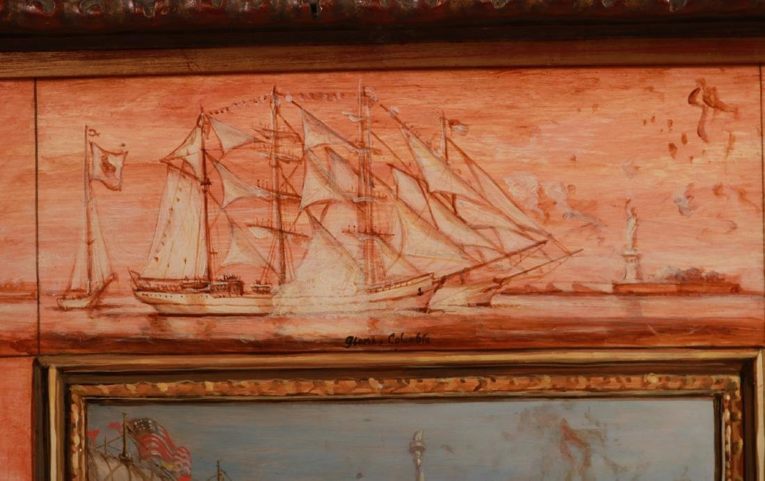 Oil on Board, Ships Entering New York Harbor - 6