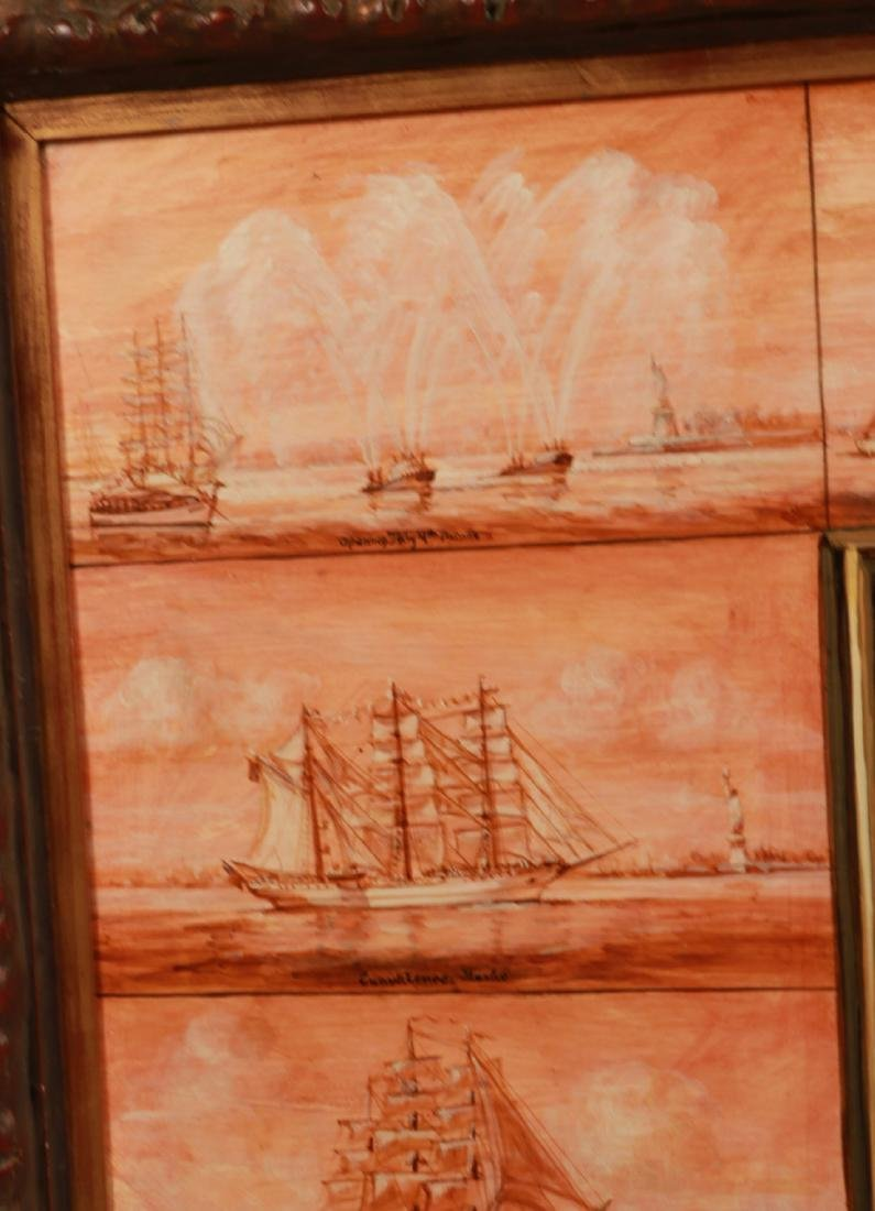 Oil on Board, Ships Entering New York Harbor - 7
