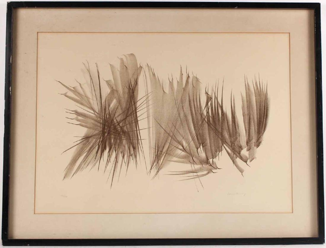 Lithograph, Monochrome Abstract of Lines