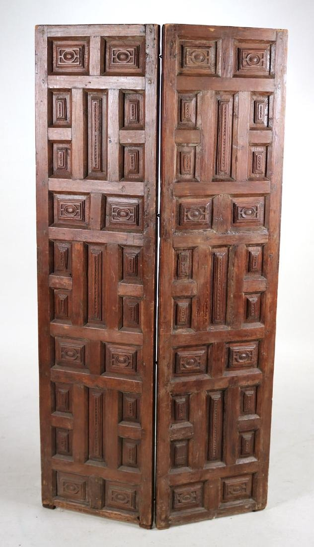 Elizabethan Style Carved Pine Two Panel Screen