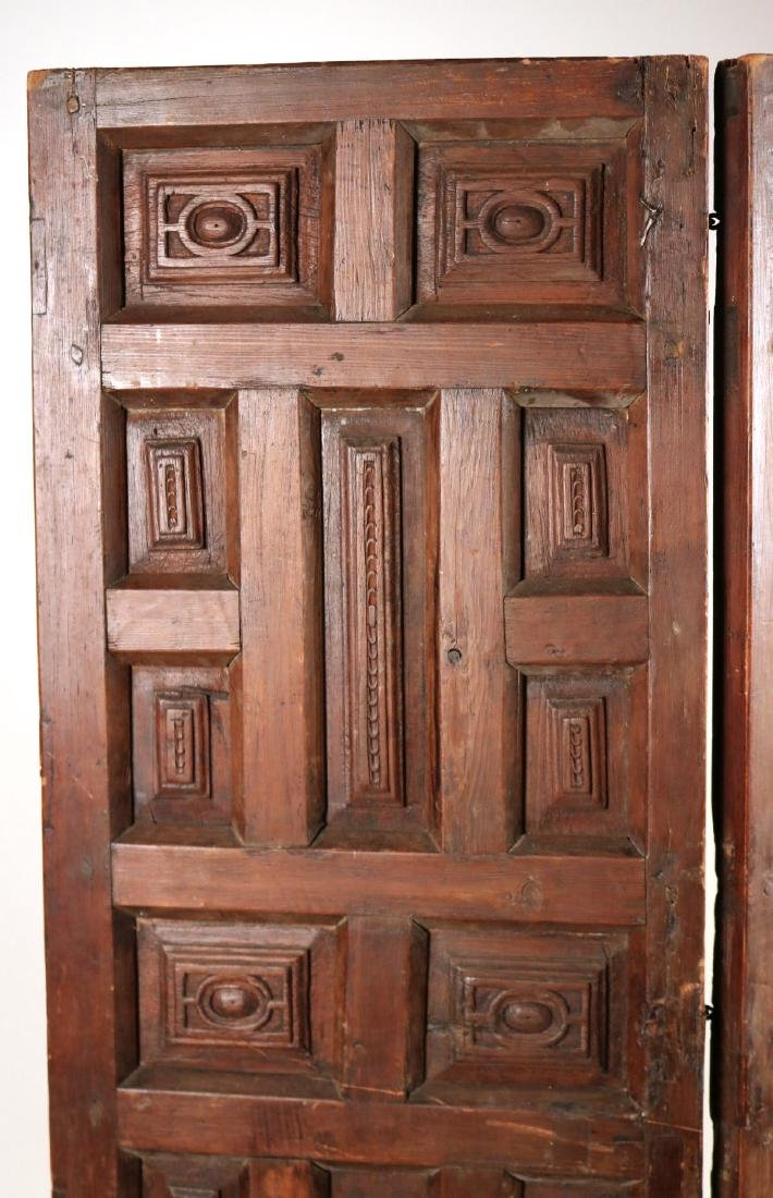 Elizabethan Style Carved Pine Two Panel Screen - 2
