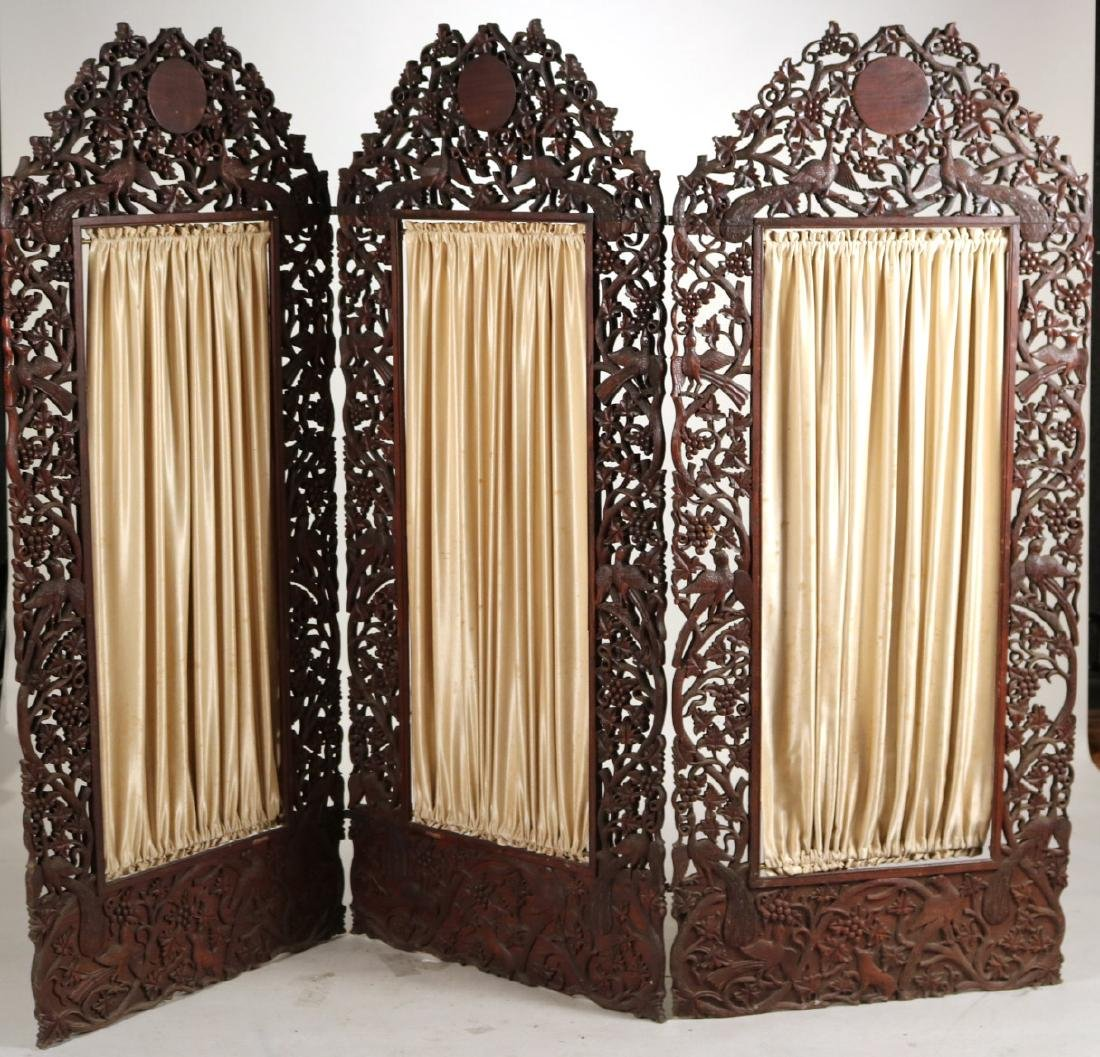Carved Hardwood Three Panel Screen
