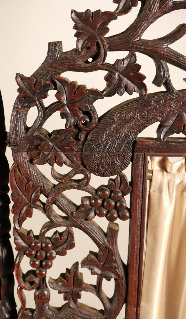 Carved Hardwood Three Panel Screen - 3