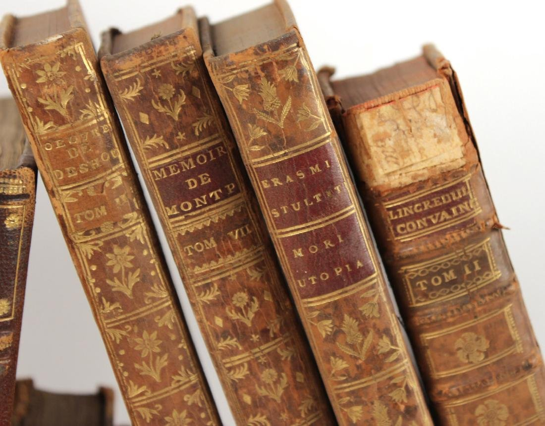 Group of Leather Bound French Language Books - 3