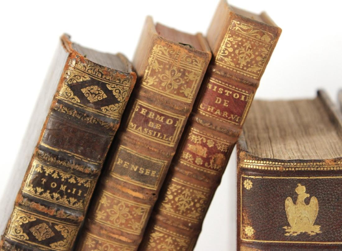 Group of Leather Bound French Language Books - 4