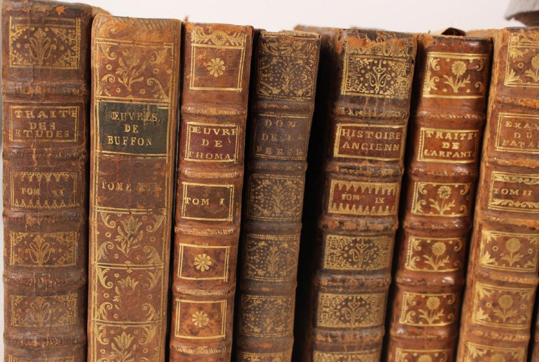 Group of Leather Bound French Language Books - 5