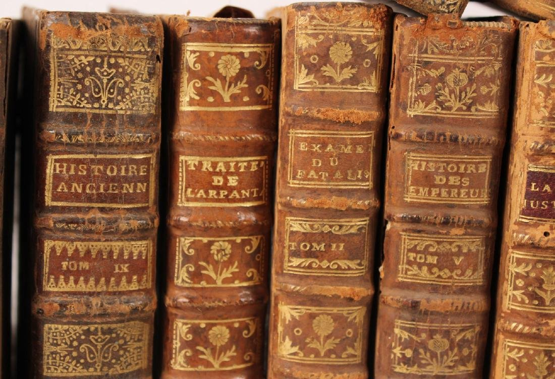 Group of Leather Bound French Language Books - 6