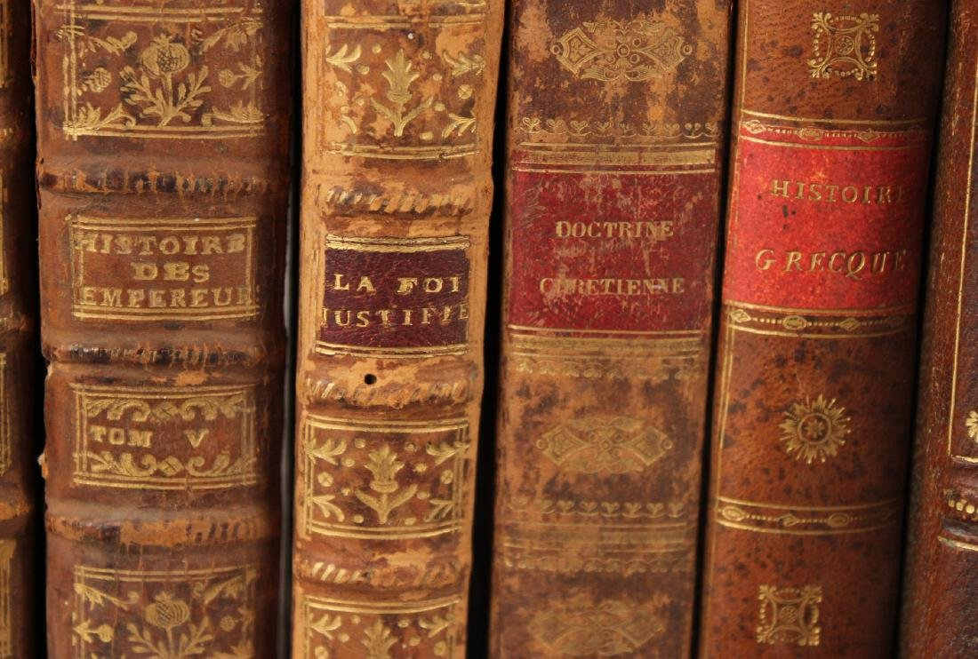 Group of Leather Bound French Language Books - 7
