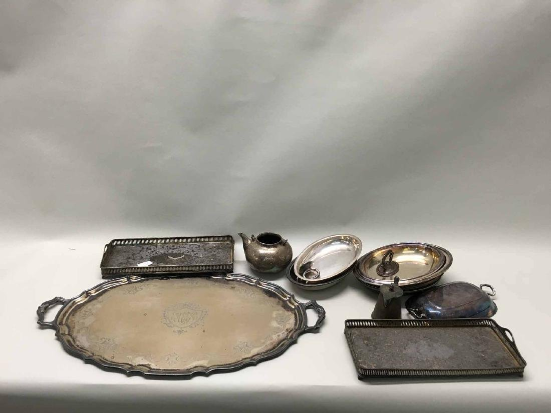 SILVERPLATED TRAYS AND HOLLOWARE