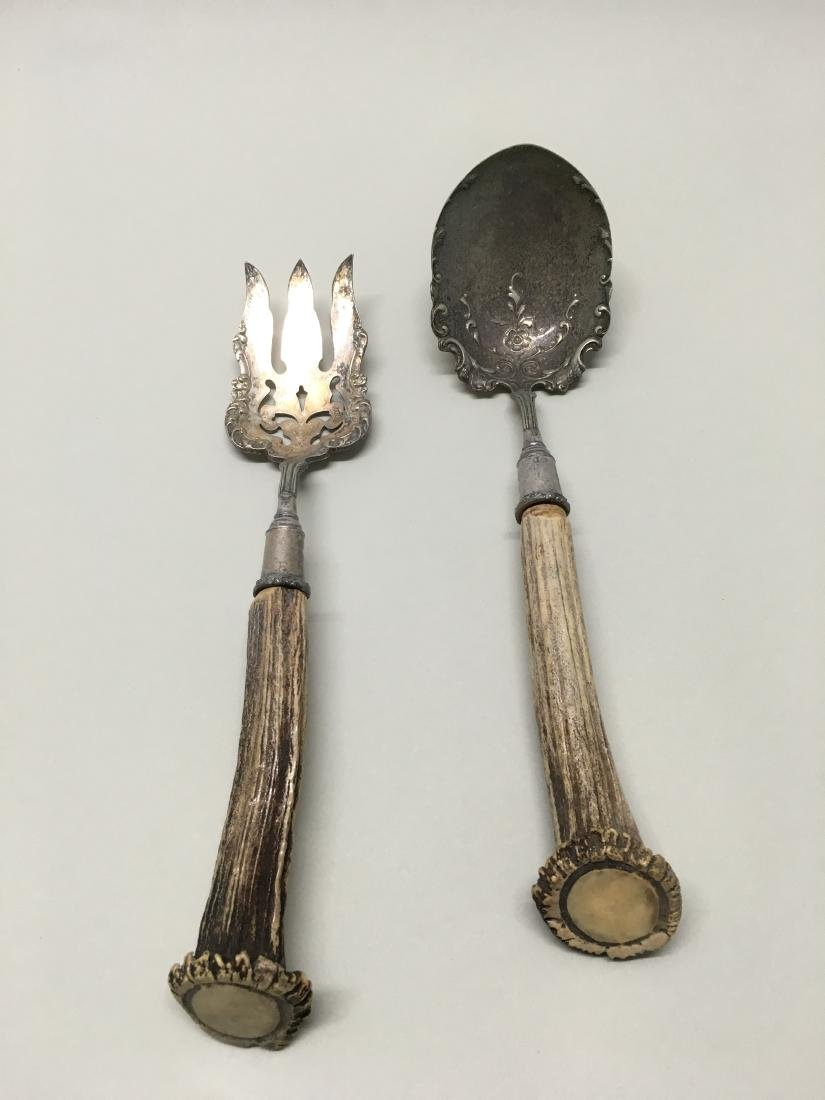 TWO ANTLER HANDLED SERVING PIECES