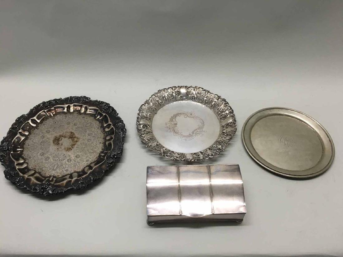 SILVERPLATED TRAYS AND INKWELL