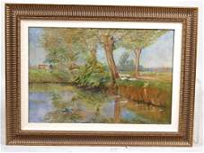 OIL ON CANVAS DEPICTING LANDSCAPE WITH TREES