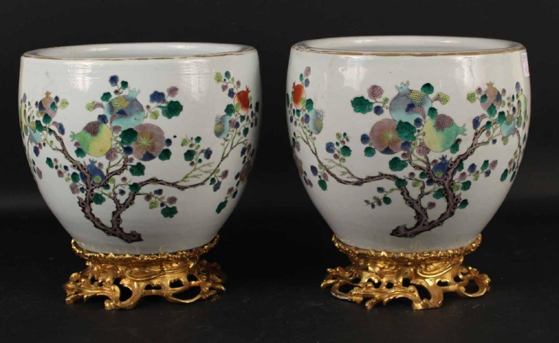 Pair of Louis XV Style Mounted Porcelain Vases