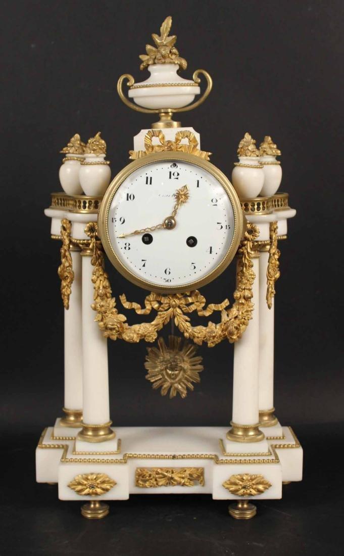 Louis XVI Style Marble Mantle Clock