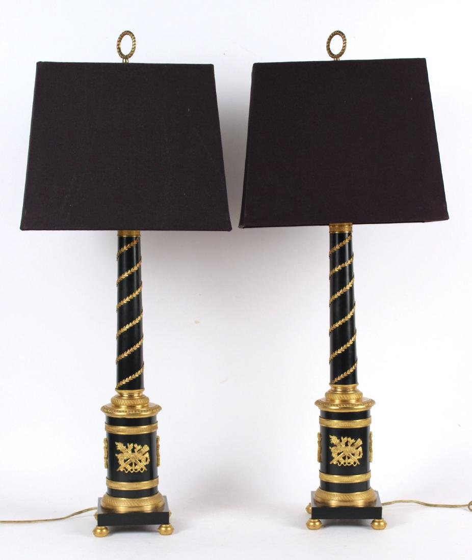 Pair of Empire Style Columnar Lamps