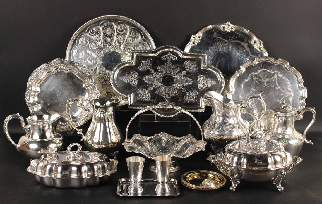 Large Group of Silver Plated Table Items