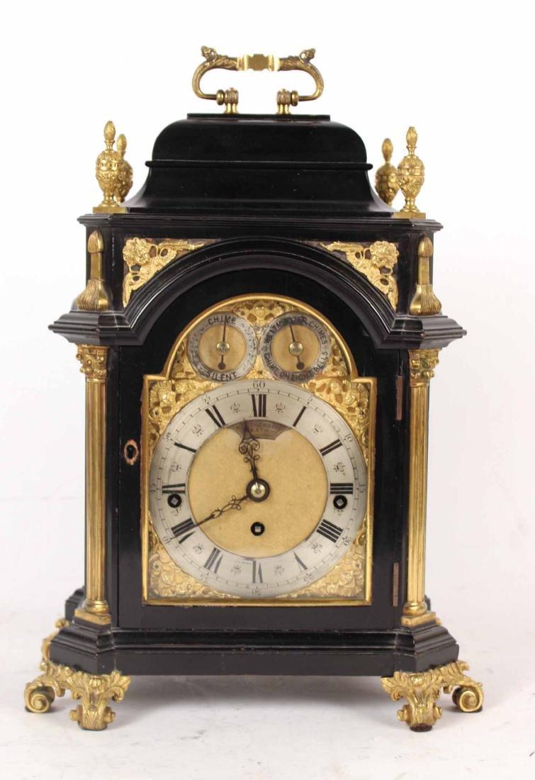 George IV Gilt-Bronze Ebonized Mantle Clock