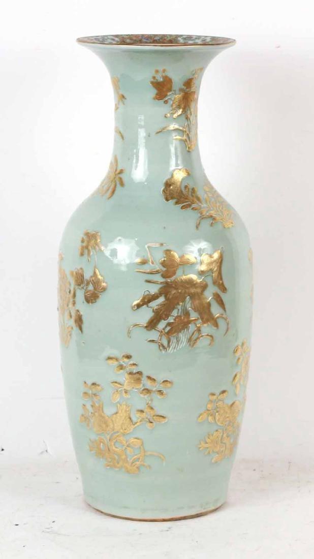 Gilt-Decorated Celadon-Glazed Porcelain Vase