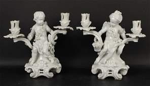 Pair of Blanc de Chine Figural Candelabra