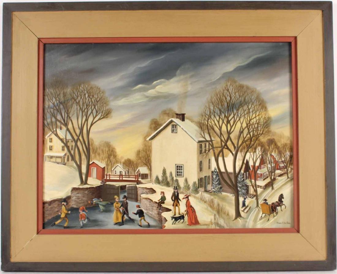 Oil on Canvas, Winter Scene, Jean H. Halter