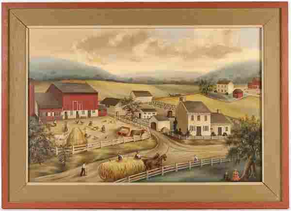 Oil on Canvas, Farm Scene, Jean Halter