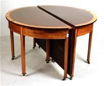 George III Satinwood Inlaid Mahogany Dining Table