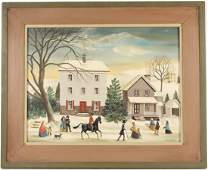 Oil on Canvas Winter Scene Jean H Halter
