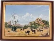 Oil on Board African Landscape D Morrison Henry