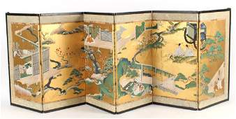 Japanese Six Panel Table Top Screen