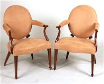 Pair of George III Inlaid Mahogany Open Armchairs