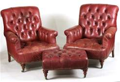 Pair of Leather Club Chairs and Matching Ottoman