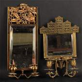 Two Brass Aesthetic Movement Mirrored Sconces
