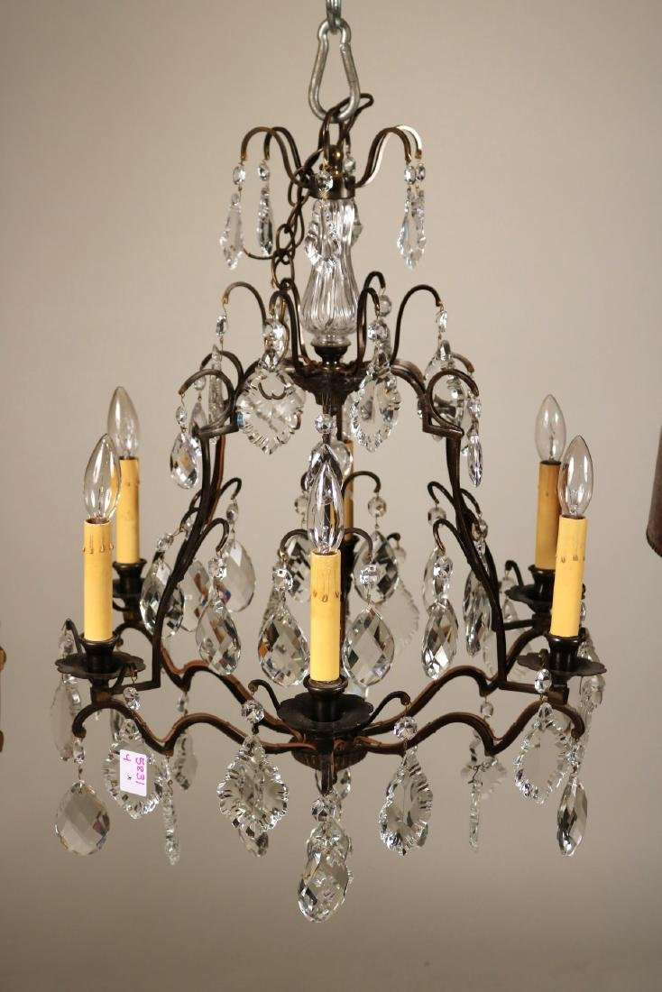 Crystal and Patinated Bronze Six-Light Chandelier