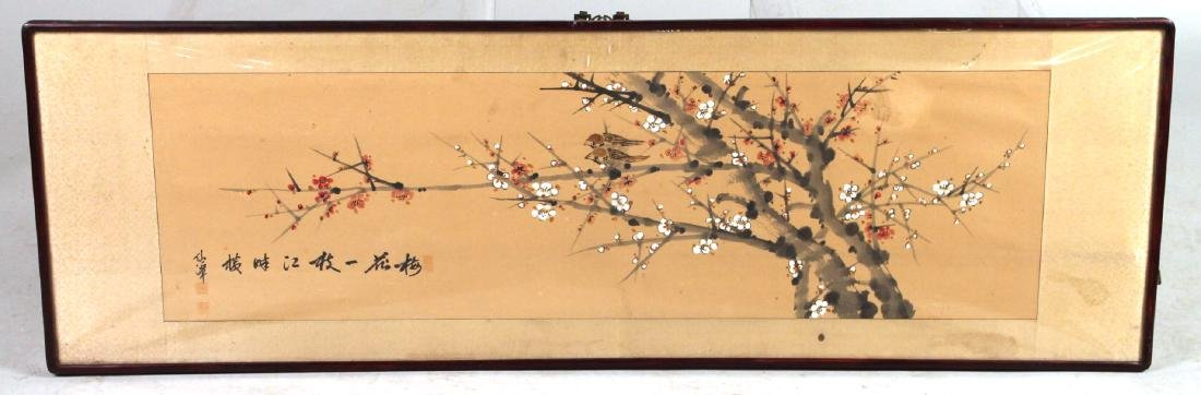 Painted Scroll of Birds on Flowering Branches