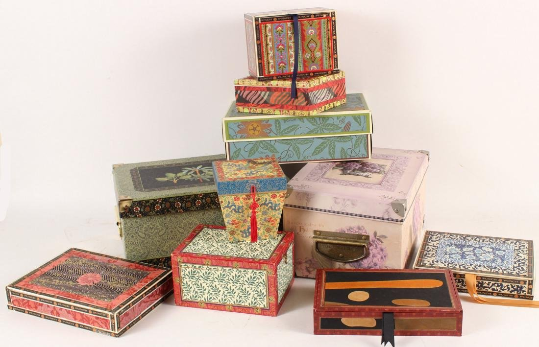 Box of Hand-Painted and Decorated Cigar Boxes